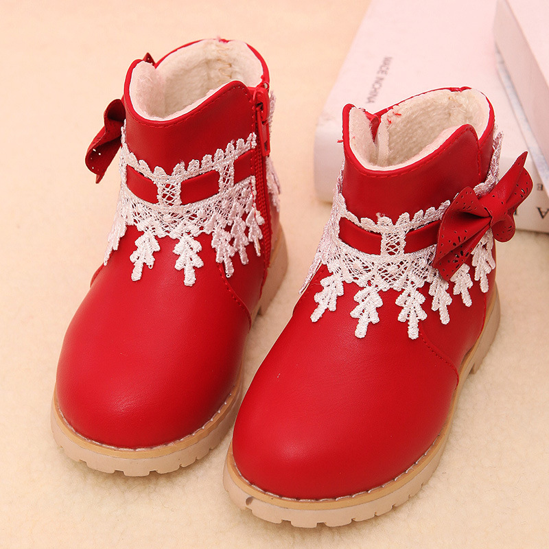 Girls Winter Boots Children Plush Warm Princess Snow Boots Kids Fashion Lace Bowtie Boots Baby Girls Flower Zipper Shoes C674