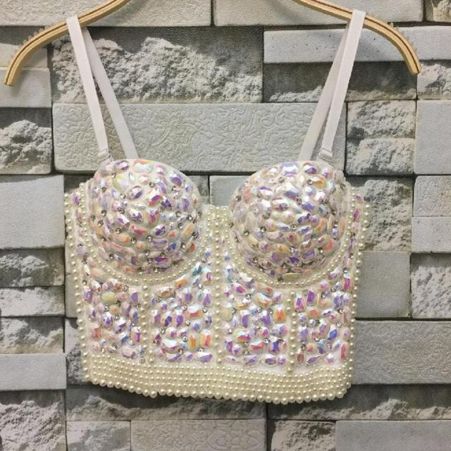 40930242d9f Gorgerous Rhinestone Bead Pearls Bustier Push Up Wedding Bralette Women s  Bra Cropped Top Vest Plus Size