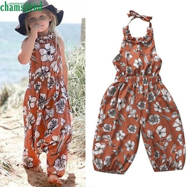 buy popular a770f 6ae97 US $7.63 37% OFF|CHAMSGEND Braun Mode Kinder Kleinkind Baby Mädchen  Blumendruck auf der rückseite Overall Pluderhosen Strampler Outfits  Kleidung ...