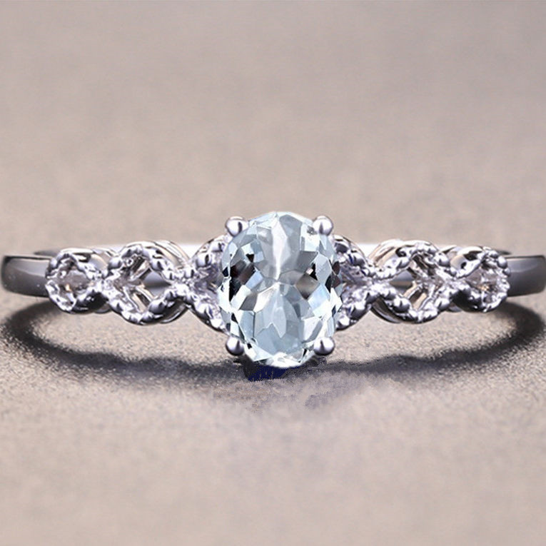 Solid 14k White Gold 5x7mm Oval Natural Aquamarine Engagment Wedding Ring for Women Fine Jewelry Classic Millgrain