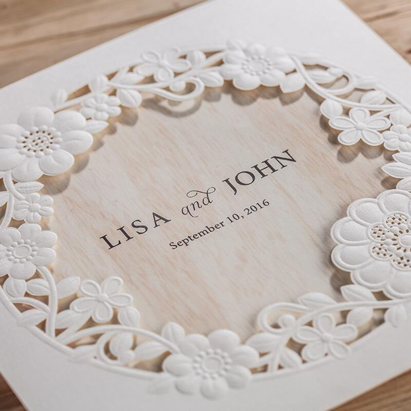 50pcs/pack Laser Cut Wedding Invitations Ivory Flowers Paper ...