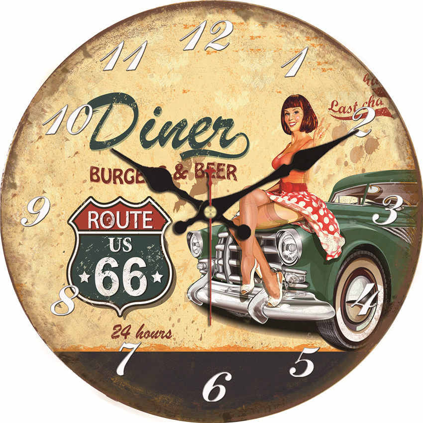 WONZOM Vintage Wall Clock Car Design Relogio De Parede Large Silent For Living Room Old Time Cars Saat Decor Route Watch Wall