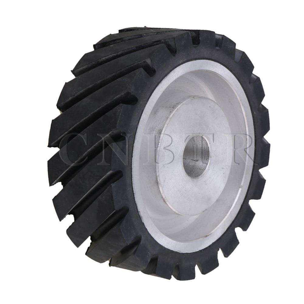 CNBTR 15 x 5cm Black Serrated Bearings Rubber Belt Grinder Sander Wheel CNBTR 15 x 5cm Black Serrated Bearings Rubber Belt Grinder Sander Wheel