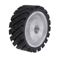 CNBTR 15 X 5cm Black Serrated Bearings Rubber Belt Grinder Sander Wheel