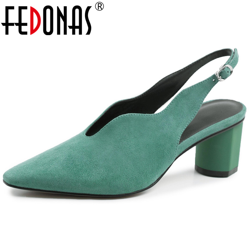 FEDONAS New Spring Women High Heels Ankle Strap Party Wedding Shoes Woman Suede Leather High Quality