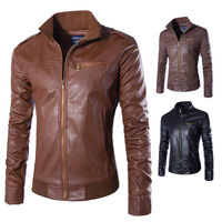 2019 Men's Standing Collar Motorcycle Leather Coat High quality Leather Coat Zipper Door Front Rib Bottom Trim Leather Coat