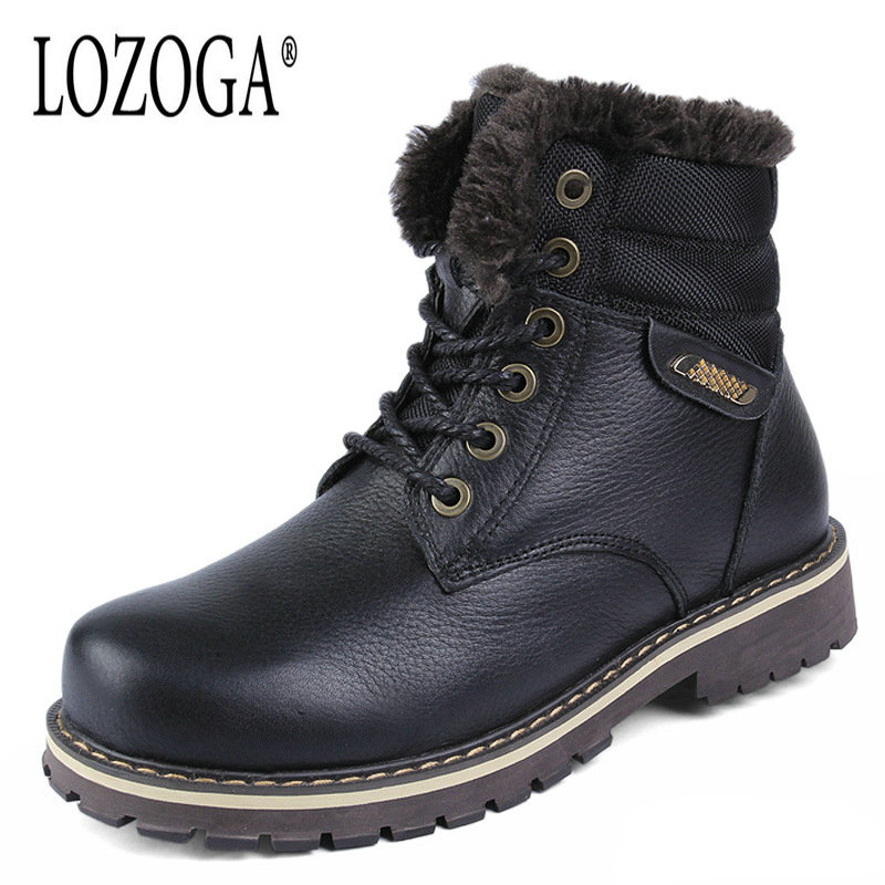 LOZOGA Mens Winter Boots Genuine Leather Black High Top Plus Size 50 Lace-Up Snow Boots Handmade Fashion Men Shoes Keep Warm