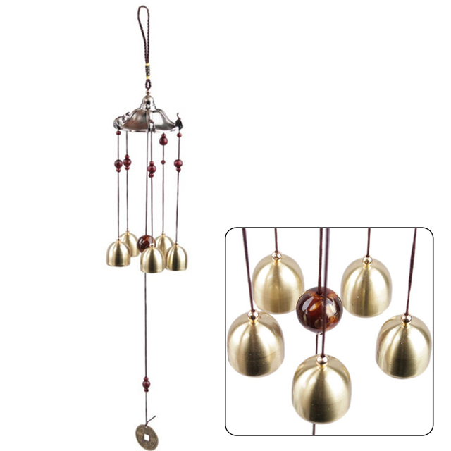 Copper Windchimes 5 Bells Pentagon Pavilion Money Drawing Yard Garden Outdoor Living Feng Shui Wind Chimes For a Gift Home Decor