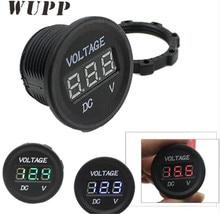 WUPP Universal 12V Voltmeter Voltage Red/ Blue/ Green Led Digital Meter Round Panel Truck Boat ATV