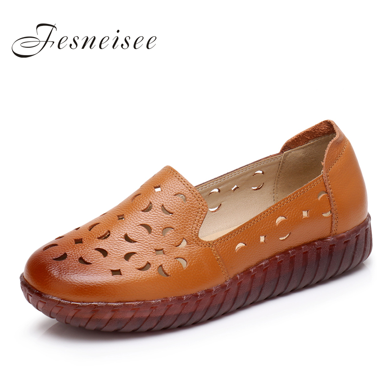 Fesneisee Fashion Casual Genuine Leather Flats Hollow Floral Shoes Spring Summer Handmade Women High Quality Soft Flat 6.0 vintage embroidery women flats chinese floral canvas embroidered shoes national old beijing cloth single dance soft flats