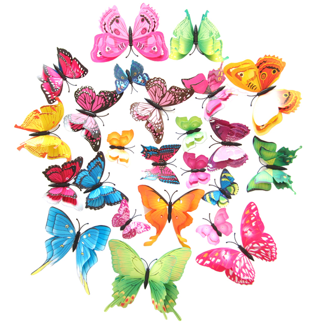 12 stücke Mix Größe 3D Schmetterling Wand Aufkleber Doppel Schicht ...