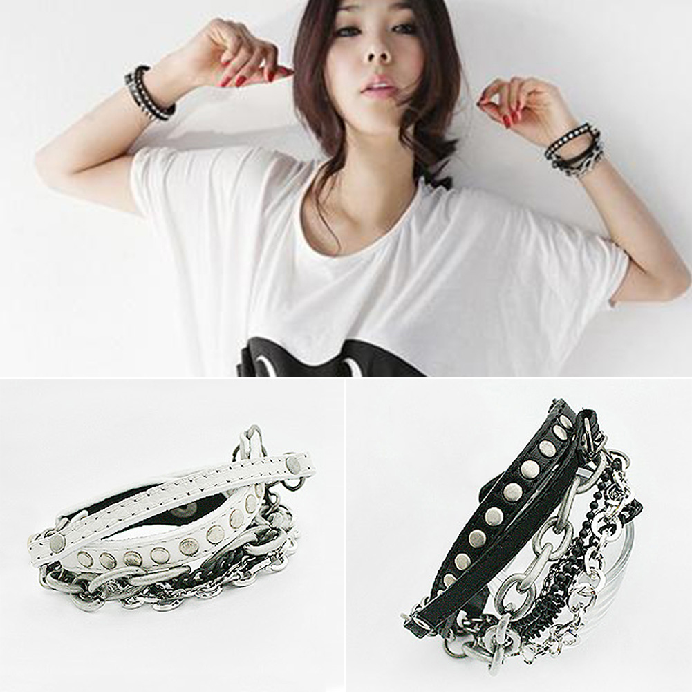 Fashion Charm Punk Rock Rivet Bracelets Metal Heavy Chain MultiLayer PU Leather Bracelet Chain for men and women