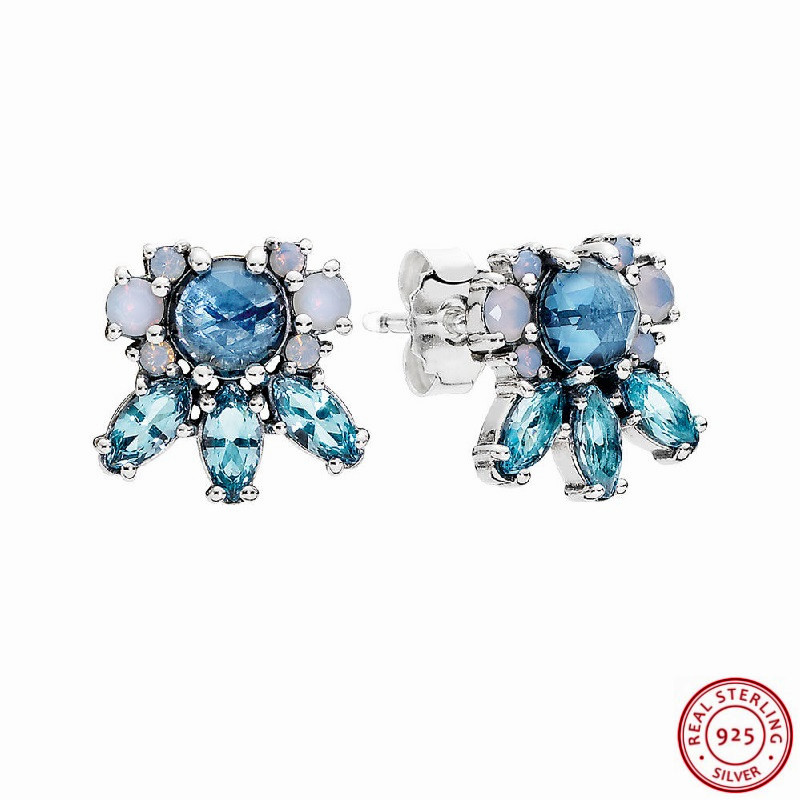 Disciplined Popular 925 Sterling Silver Faceted Icicle Shape Chilly Blue Crystal Patterns Of Frost Stud Earrings For Women Jewelry Fle075 Cleaning The Oral Cavity.