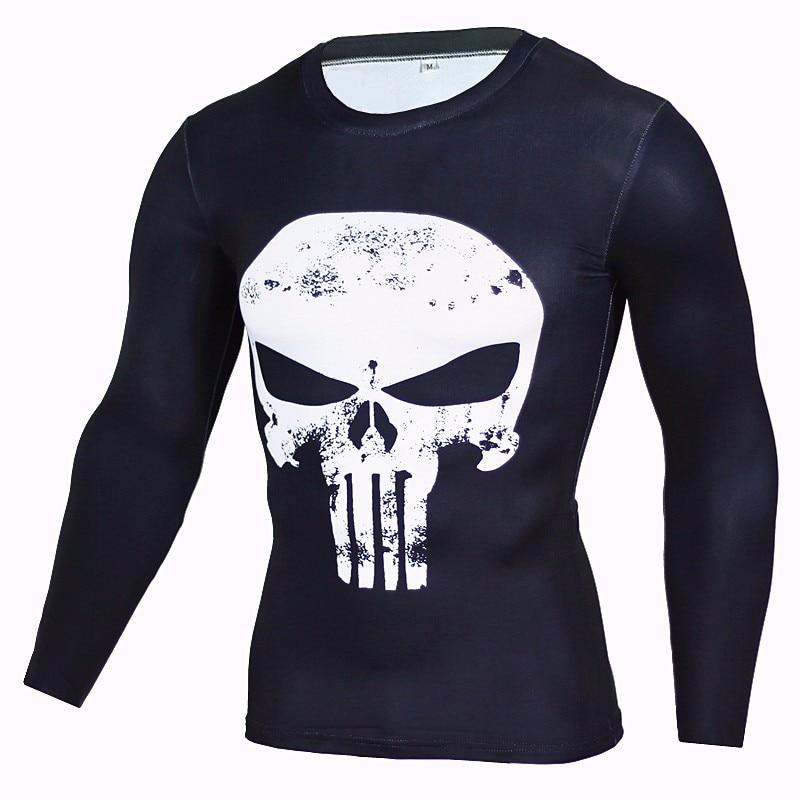 Newest 2016 Fashion Men T Shirt Marvel Superhero Punisher T Shirt Jersey Men Fitness tee Compression
