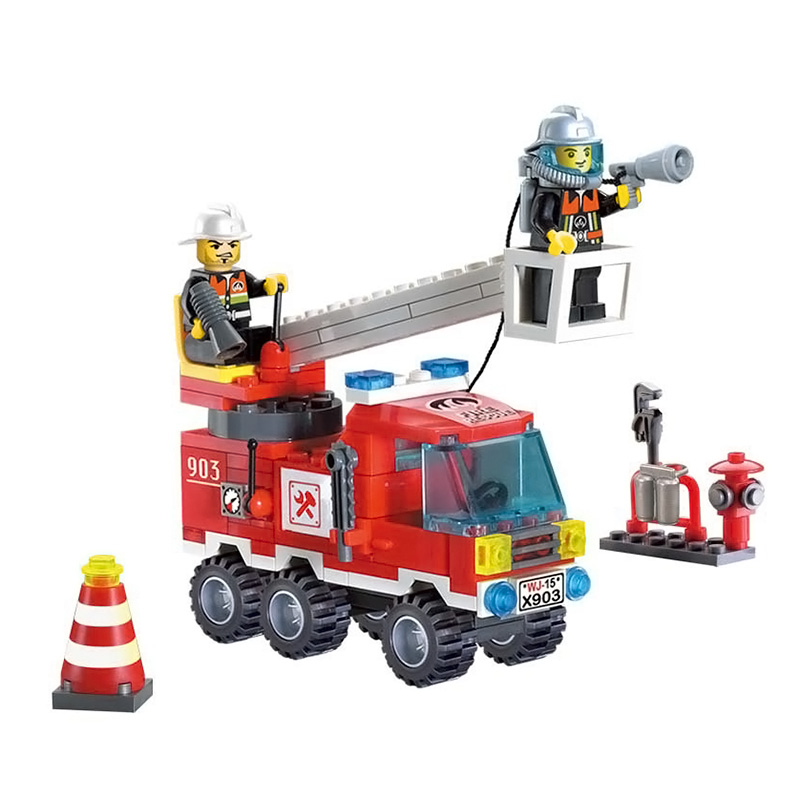 130pcs/set Fire Fighting Truck DIY Building Blocks Toy Children Educational Brinquedos Gifts -17 BM88 jie star fire ladder truck 3 kinds deformations city fire series building block toys for children diy assembled block toy 22024
