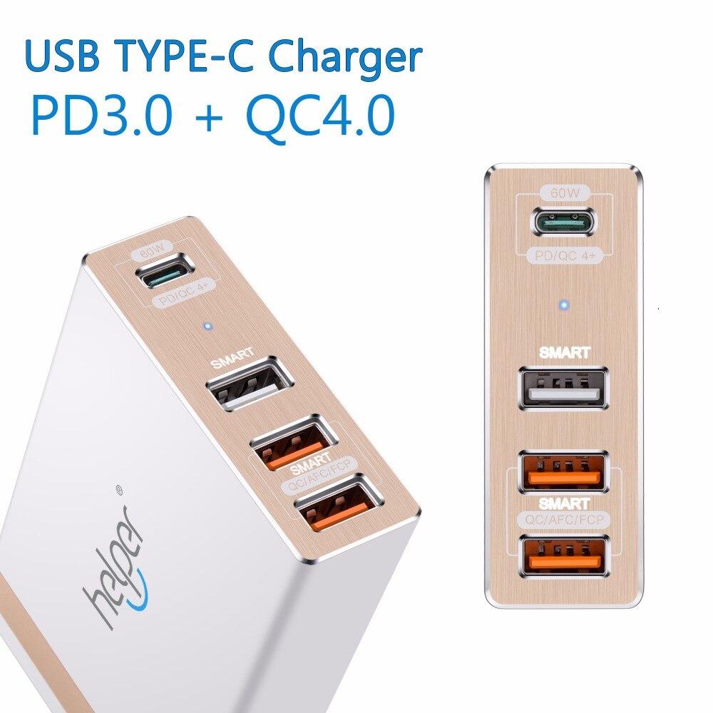 USB-C Type-C PD3.0 QC4 + Chargeur 87 W 4-Ports Voyage Smart Chargeur De Bureau pour ordinateur portable et téléphone, fit pour 45 w 61 w 65 w et plus