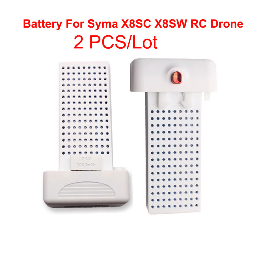 2PCS /Lot  for Syma X8SW X8SC RC Quadcopter Battery 7.4V 2000mAh Lithium Battery Quadcopter Drone Longer Fly Time 3pcs lithium battery and european regulators with 1 care 3 conversion cable for syma x8sw x8sc remote control helicopter battery