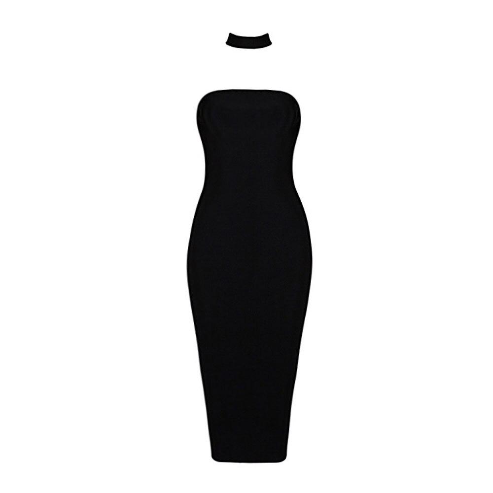 Kadın Giyim'ten Elbiseler'de Siyah kolsuz backless diz boyu 2018 yeni varış gece gece elbisesi bandaj rayon elbise'da  Grup 2