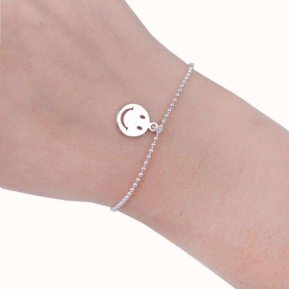 8SEASONS Copper font b Bracelets b font Silver Plated Emoji Smile Fashion Woman Jewelry 16 5cm