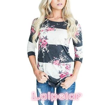 Fashion Casual Long Sleeve Floral Printed T Shirt Women Tops Tees Spring Summer T Shirt Tunics