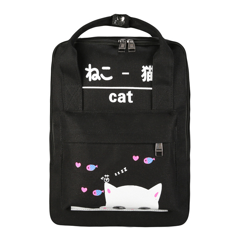 6e6a334e48 DUDINI Student Bag Girls Shoulder Bags Small Fresh Japanese and Korean  Canvas Travel Backpack College Wind Cute Cat Backpacks-in Backpacks from  Luggage ...