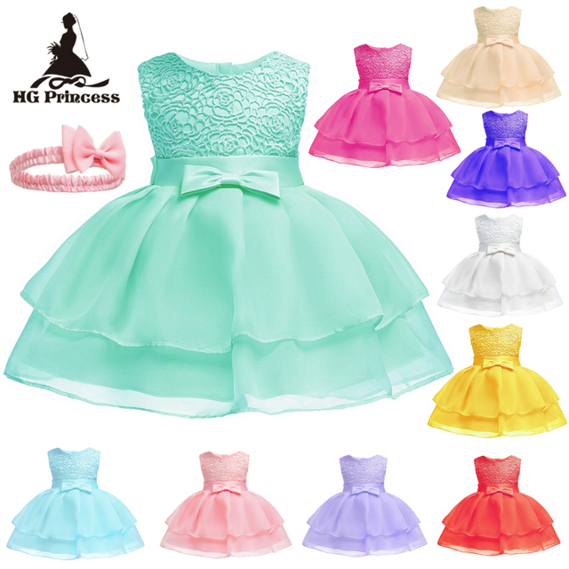 Free Shipping  3M-24M Newborns Dresses 2018 New Arrival Mint Green Baby Dress For 1 Year Girl Birthday Toddler Christening Gowns