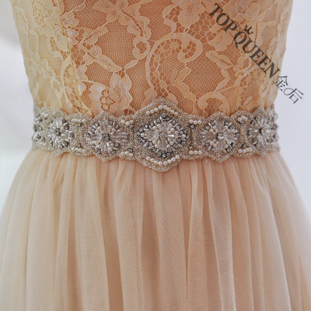 Handmade crystal bridal belt rhinestone pearl luxury wedding dress - Topqueen Free Shipping S220 Rhinestones Pearls Wedding Belts Wedding Sashes Rhinestones Pearls Bridal Belts Bridal