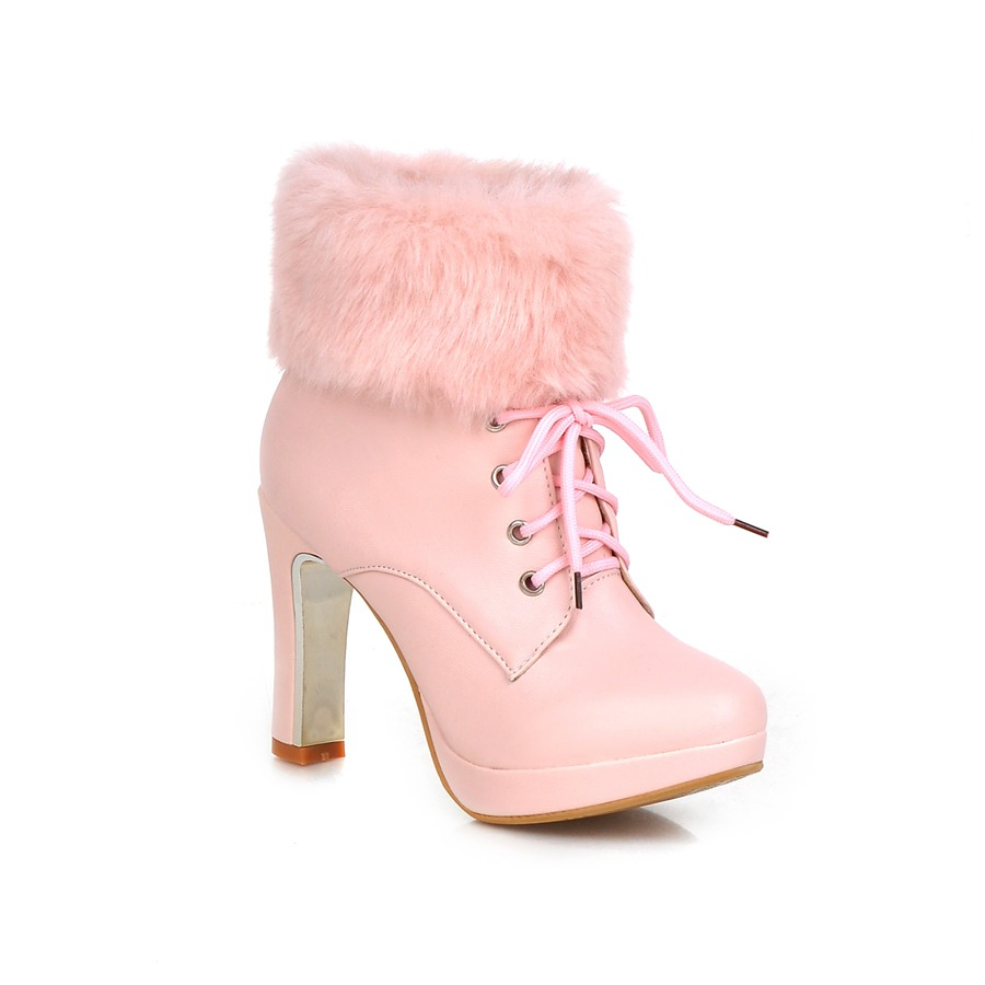 NEW sweet women boots thin high heels boots winter warm snow boots dress shoes woman black beige pink