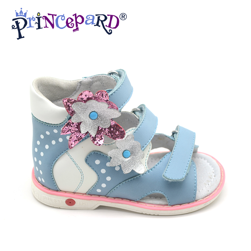 Princepard Need Customize in Advance 20 days Orthopedic shoes for girls pink blue genuine leather sandals