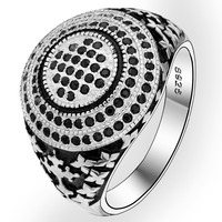 BELLA Fashion Men 925 Sterling Silver Double Circle Black Gems Ring Size 10 11 Silver Plated