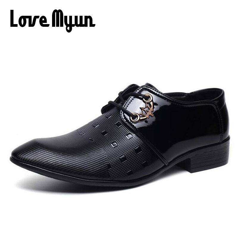 Korean Fashion men dress shoes mens patent leather shoes lace up black wedding business work Oxfords mens Pointed toe flat AB-47 high quality carved black red mens dress oxfords lace up pointed toe genuine leather wedding mens business for work shoes
