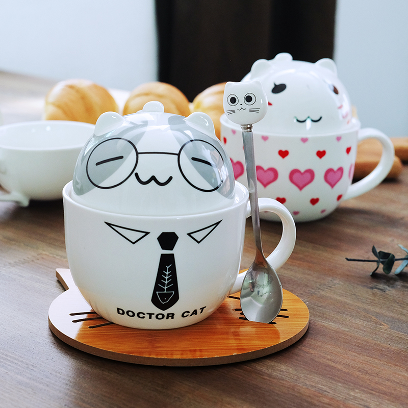 Coffee Cup White Doctor Cat Animal Milk Cup Ceramic Lovers