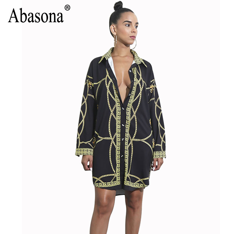 Abasona מודפס שרשרת כפתורי צווארון Turn-למטה שרוול ארוך חולצות חולצות נשים חולצה ארוכה רופף מזדמן בסגנון וינטג 'נשים חולצות