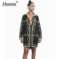 Abasona Chain Printed Women Blouses Shirts Long Sleeve Turn Down Collar Buttons Long Shirt Vintage Style