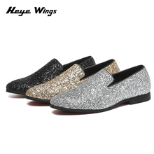 Heye Wings mens shoes gold and silver rhinestone leather fashion Bling Paillette Men Loafers Charming Elegant Party Dress