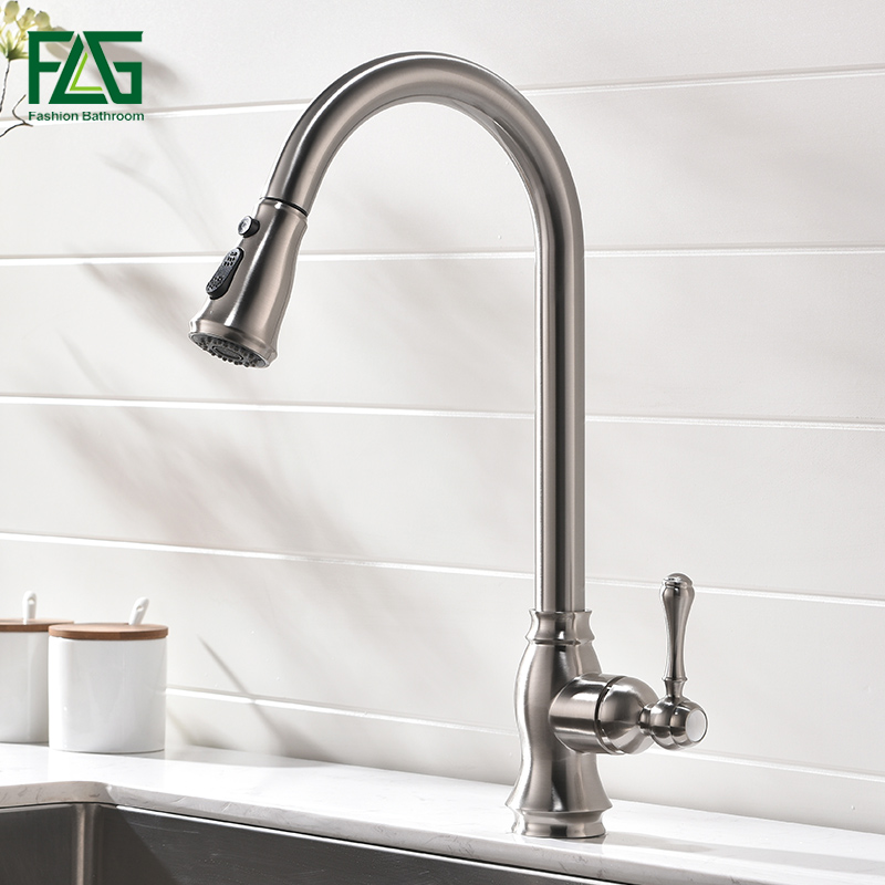 FLG Kitchen Faucets Pull Down Out Brushed Nickel Kitchen Tap New Design Brass Faucets High Quality