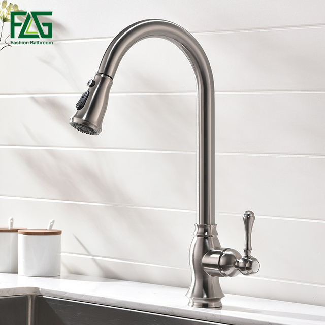 FLG Kitchen Faucets Pull Down Out Brushed Nickel Kitchen Tap New Design Brass Faucets High Quality Sink Mixer Taps 929-33N