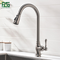 FLG Kitchen Faucets Pull Down Out Brushed Nickel Kitchen Tap New Design Brass Faucets High Quality Sink Mixer Taps 929 33N
