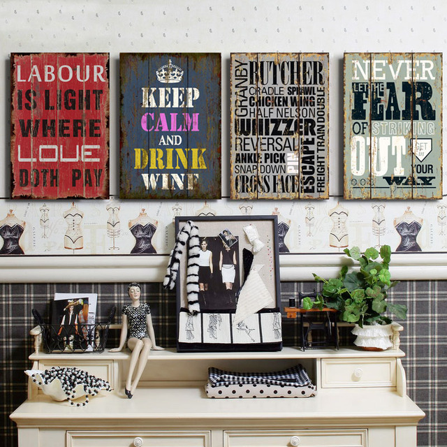 Abstract Inspiring Quotes Canvas Paintings Nostalgic Posters Prints Wall  Art Pictures For Bar Living Room Home