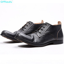 2019 Vintage Handmade Fashion Office Dress Painted Genuine Leather Original Design Men Casual Outdoor Boots