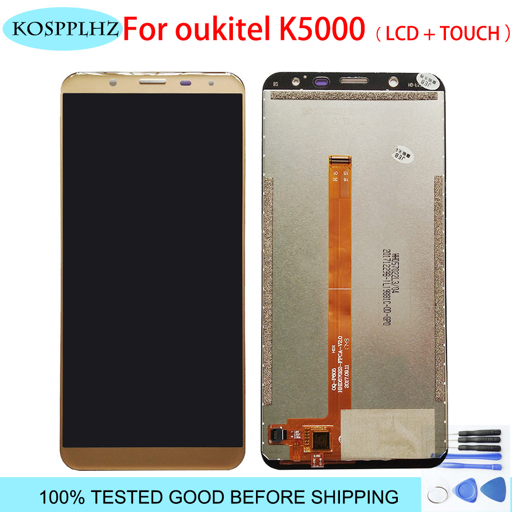 1440x720 5.7 inch For <font><b>Oukitel</b></font> <font><b>K5000</b></font> LCD Display Digitizer Touch <font><b>Screen</b></font> Replacement for gold color k 5000 + Tools image
