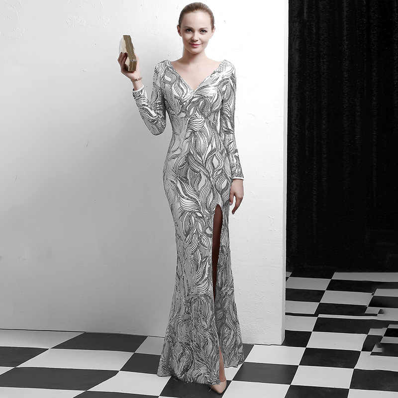 bce103aa3ce81 Corzzet Sequined Silver Mermaid Dresses Long Maxi Party Gowns Long Sleeve  Sexy Slit V Neck Elegant