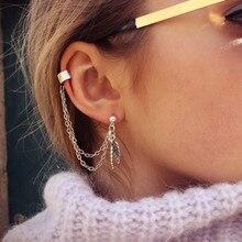 2pcs/set Double Leaf Cool Rock Punk Leaf Tassel Ear Wear