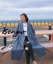 Genuo 2019 New Arrival Contrast Color Patchwork Loose Casual V Collar Coat With Plush For Women Autumn Fashion Jacket
