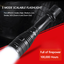 5 Mode 1000 LM clip tactical glare telescopic focusing flashlight for 18650 battery beam range from 100 to 250 meters