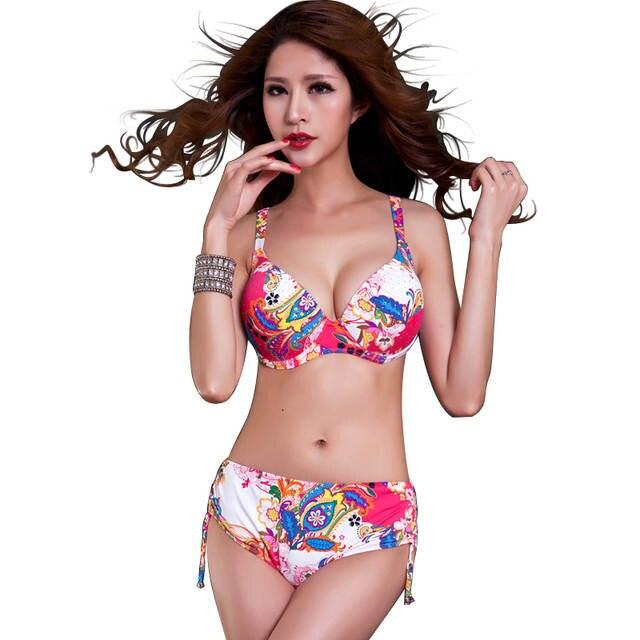 14885a0b362ed placeholder New Women Hot Sexy Big Bust Print Floral Swimwear Large Cup Bikini  Bathing Suit Crystal Diamond