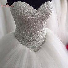 Индивидуальный размер бальное платье без бретелек пушистый жемчуг бисер Формальные Свадебные платья Robe de Mariee Свадебные платья Новая мода SA01