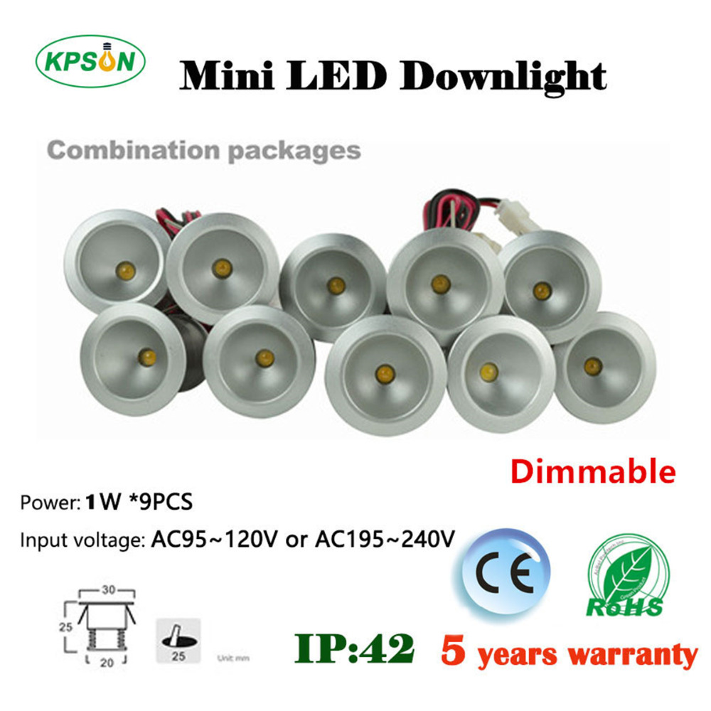 wholesale 1W Mini Led Spot light Mini Dimmable Led Recessed Downlight 25mm cut input 85-277V With Led Driver 60/120D 6pcs set with driver cable connector cree 3w mini led cabinet downlight led recessed cabinet spot light white warm white