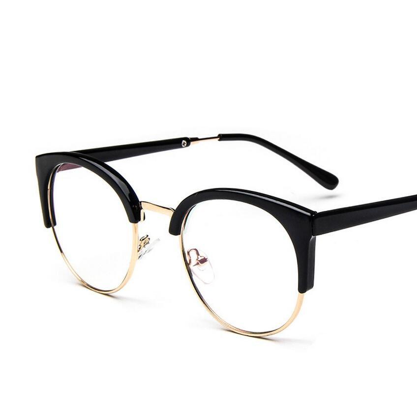 women\'s eye glasses frame men Vintage metal round half framed Brand ...