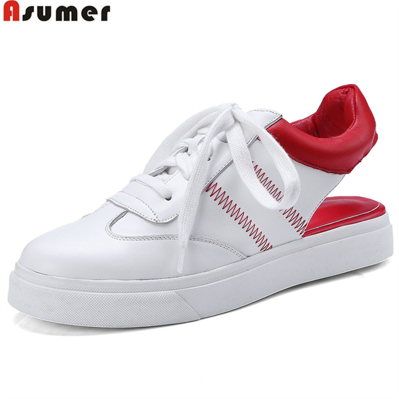 ASUMER 2018 fashion sneakers women shoes round toe comfortable red green women genuine leather shoes casual flats asumer white spring autumn women shoes round toe ladies genuine leather flats shoes casual sneakers single shoes